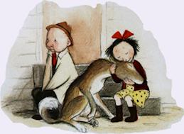 Lilla farbrorn sitter på en trappa med en hund och en flicka